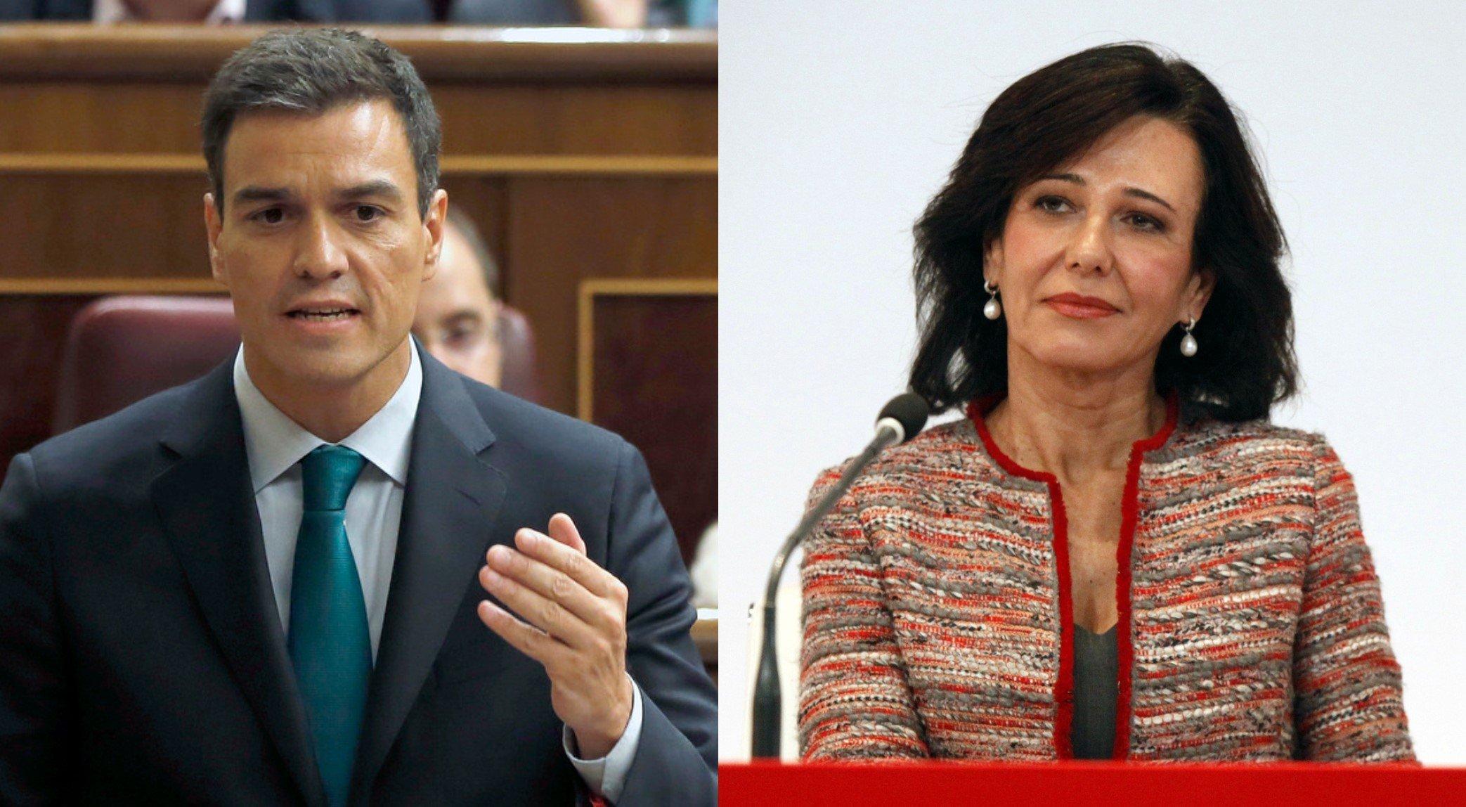Pedro Sánchez y Ana Botín. El Gobierno socialista no revisará la intervención del Banco Popular por la JUR.