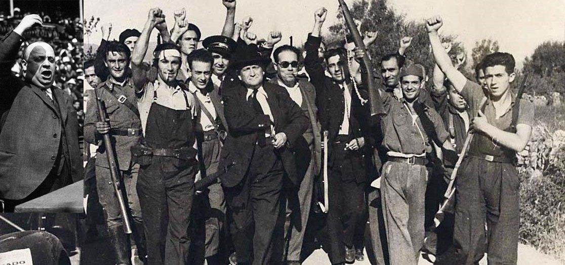 Indalecio Prieto y Largo Caballero junto a milicianos