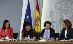 Montón, Celaá, Valerio y Batet, muy orgullosas, en su comparecencia ante los medios