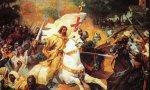 Y en esta batalla incruenta, volvemos a clamar: ¡Santiago y cierra España, ante esta caterva!