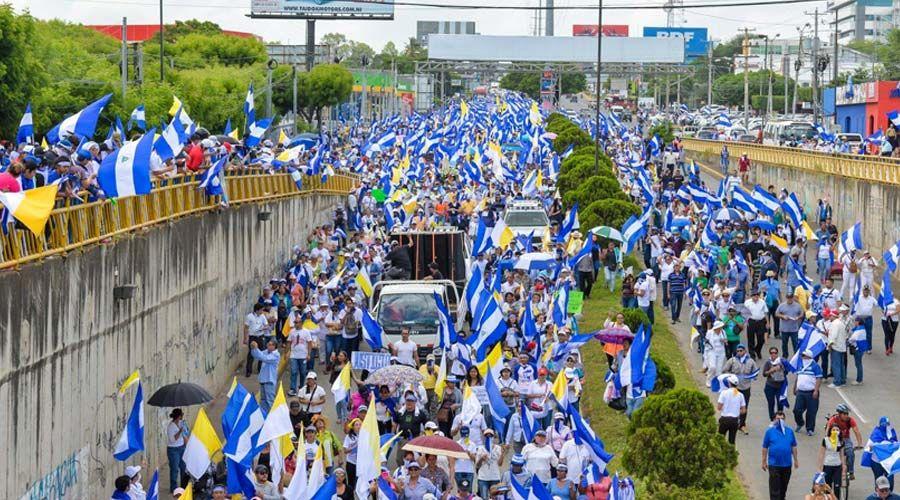 Manifestación en defensa de la Iglesia en Nicaragua