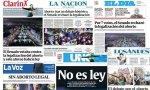 Portadas de la prensa argentina tras el fallo del Senado.