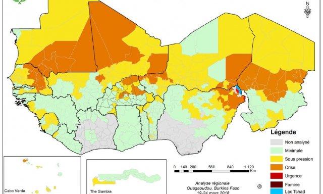 Mapa de la situación alimentaria en la zona entre los meses de junio y agosto.