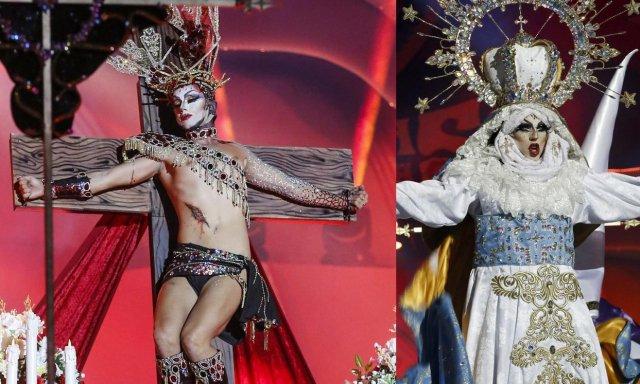 Drag Sethlas se disfrazó de Jesucristo y de la Virgen, ofendiendo a los católicos, aunque la justicia no lo ve así.