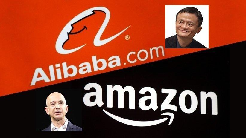Jack Ma y Jeff Bezos son las dos caras detrás de Alibaba y Amazon, que pujan por el comercio electrónico mundial