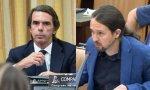 Pablo Casado y Pablo Iglesias durante la comparecencia de José María Aznar en el Congreso en la comisión de investigación sobre la presunta financiación ilegal del PP