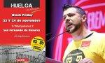 Douglas Harper, delegado de CCOO en Amazon en San Fernando de Henares, junto a un cartel de la próxima huelga