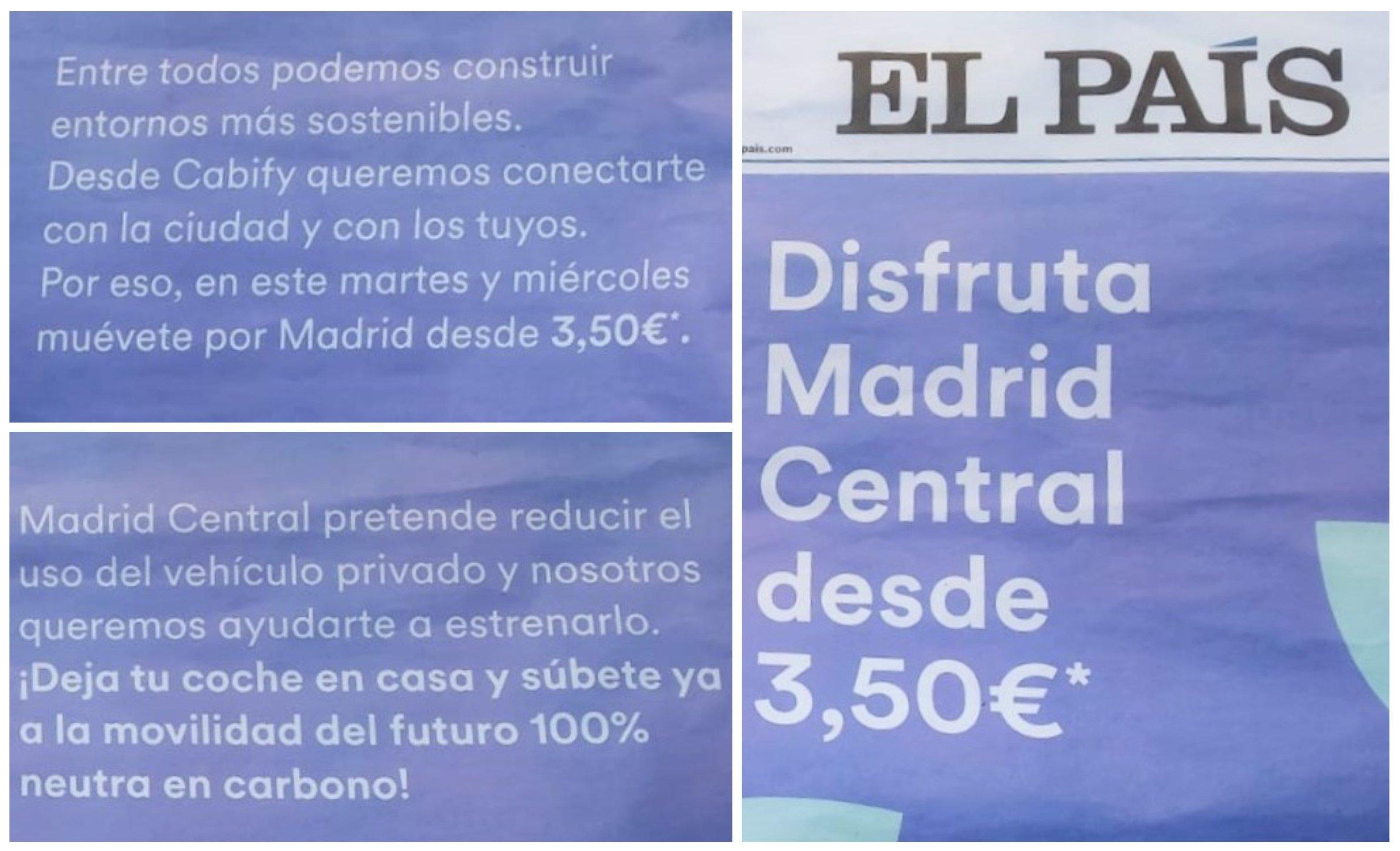 La portada de El País y dos fragmentos de dos de las cuatro páginas que el periódico cede a Cabify