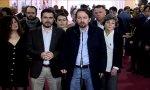 Pablo Iglesias hablando a los medios el día del aniversario de la Constitución