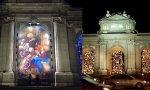 Dos belenes en la madrileña Puerta de Alcalá: uno de los dos tapices colocados este año y otro hecho con luces hace unos años.
