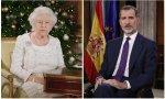 Isabel II y Felipe VI durante los mensajes navideños