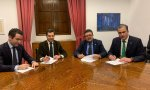 De izquierda a derecha: Egea y Moreno (PP), con Serrano y Ortega (Vox)