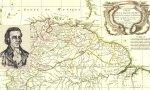 Detalle de un mapa parcial de Sudamérica de 1785 y un grabado de Juan Bautista Picornell y Gomila