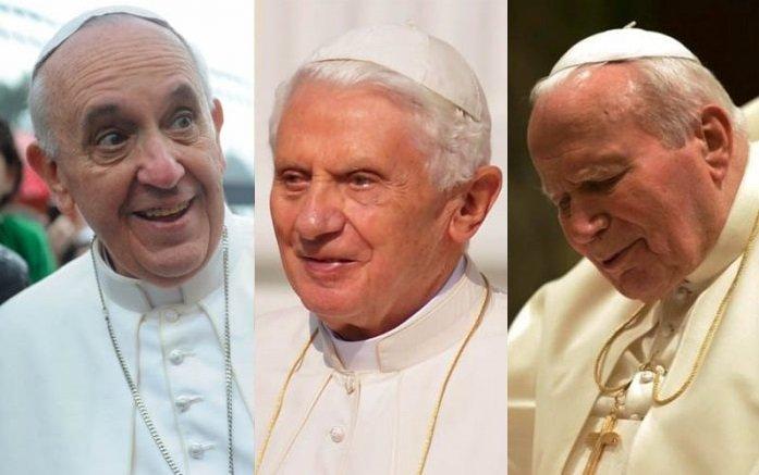 Francisco, Benedicto XVI y San Juan Pablo II, tres papas con los que la cifra de católicos ha crecido desde 1978