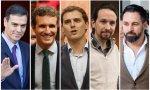 Pedro Sánchez, Pablo Casado, Albert Rivera, Pablo Iglesias y Santiago Abascal