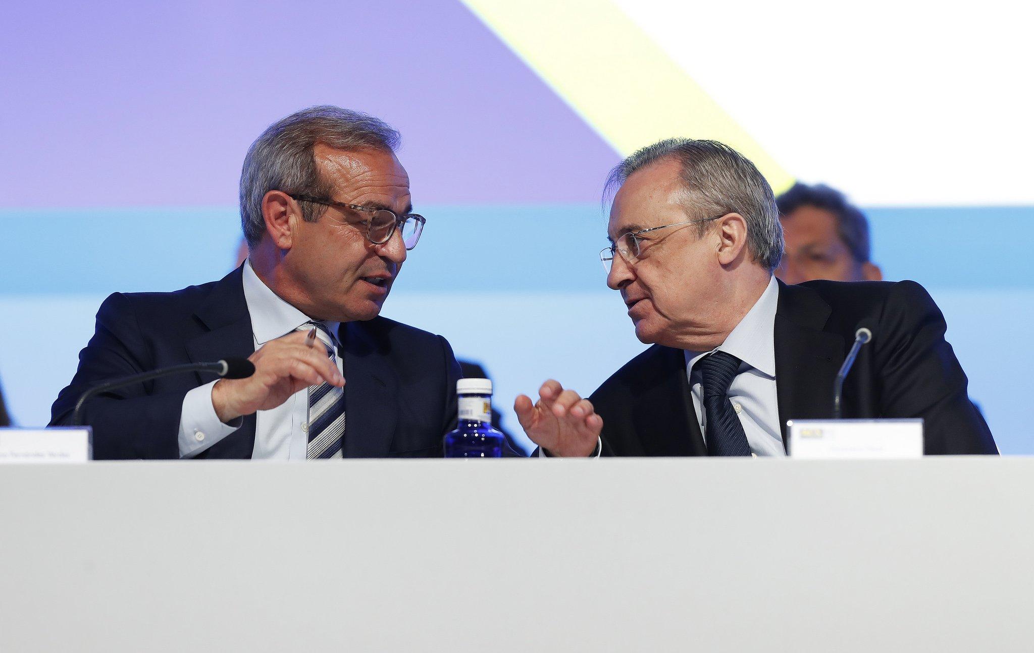 Marcelino Fernández Verdes, CEO del grupo ACS, y Florentino Pérez, presidente ejecutivo