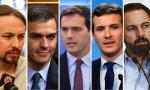 Pablo Iglesias; Pedro Sánchez; Abert Rivera; Pablo Casado y Santiago Abascal