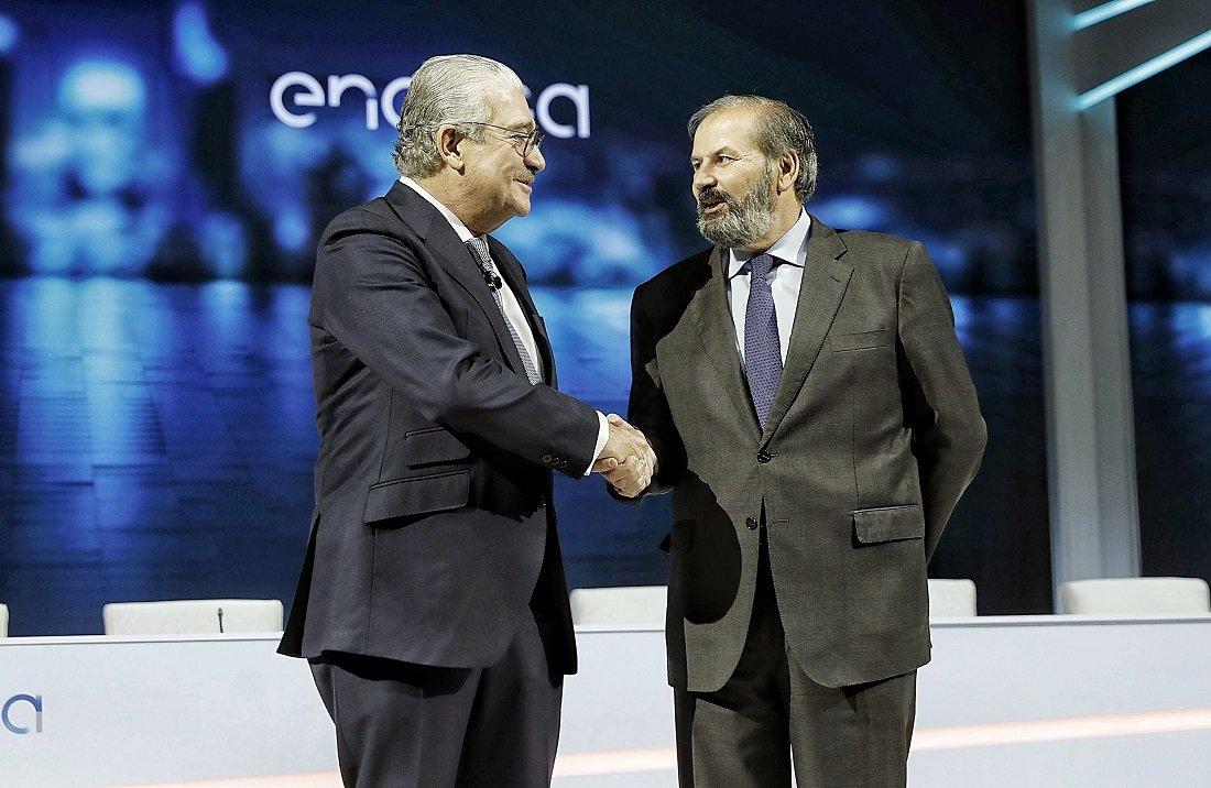 El CEO de Endesa, José Bogas, da la bienvenida al nuevo presidente no ejecutivo, Juan Sánchez-Calero