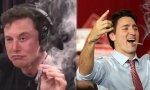 Musk no tuvo reparos en fumarse un porro en una entrevista, algo que hasta ahora no ha hecho el progre Trudeau (la foto es un montaje de Internet), pero no sería de extrañar porque es legal en Canadá