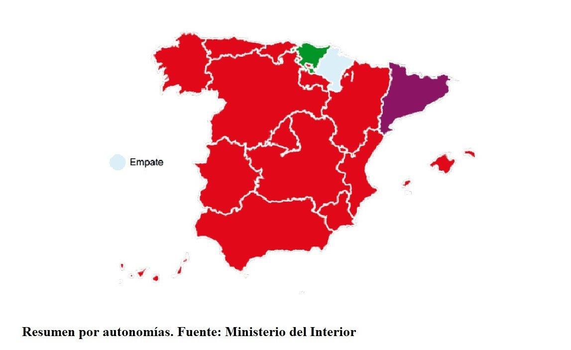 España pasa de azul a rojo. Resumen por autonomías. Fuente Ministerio del Interior