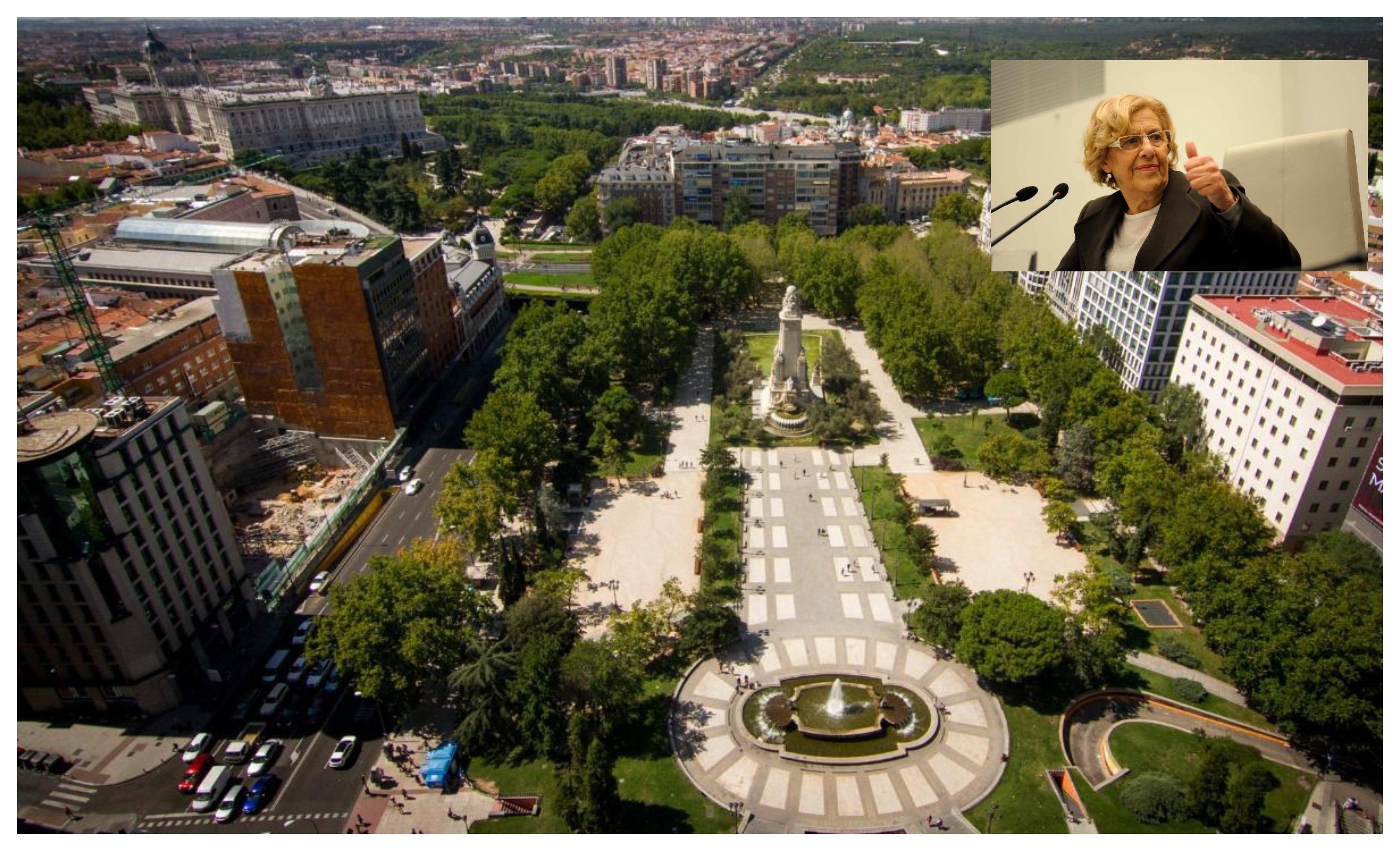 La Plaza de España, que Carmena quiere dejar sin árboles (2)