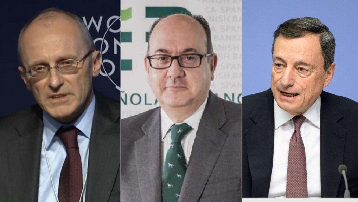 José María Roldán (centro) tuvo palabras para Andrea Enria (izquierda) y Mario Draghi (derecha)