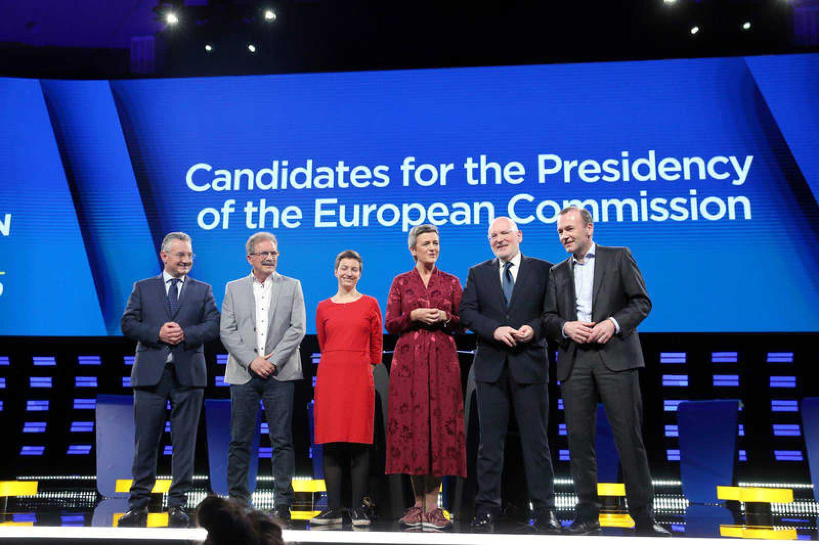 Los candidatos del debate de izquierda a derecha Jan Zahradil, Nico Cué, Ska Keller, Margrethe Vestager, Frans Timmermans y Manfred Weber