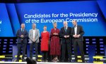 Los candidatos del debate de izquierda a derecha Jan Zahradil, Nico Cué, Ska Keller, Margrethe Vestager, Frans Timmermas y Manfred Weber