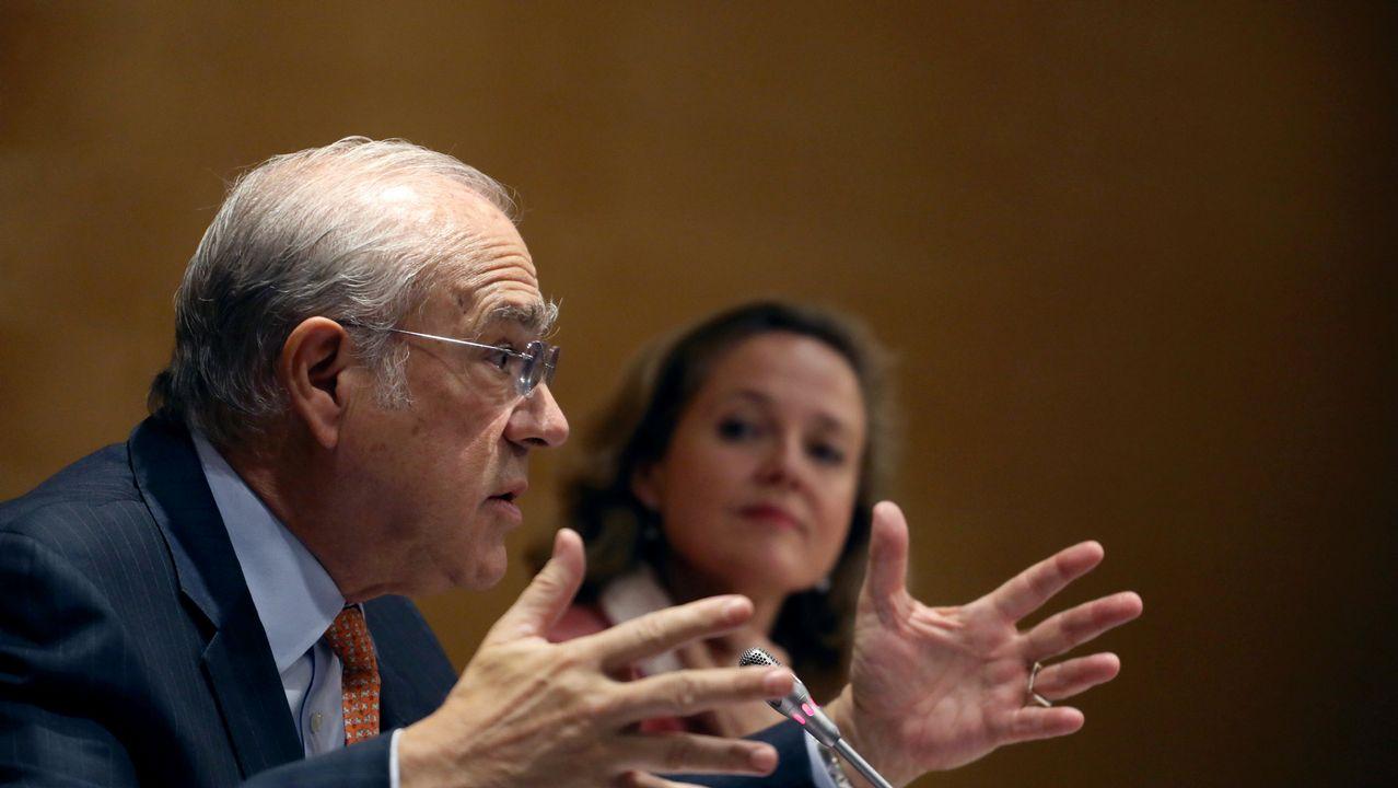 El secretario general de la OCDE, Ángel Gurría, con la ministra Nadia Calviño