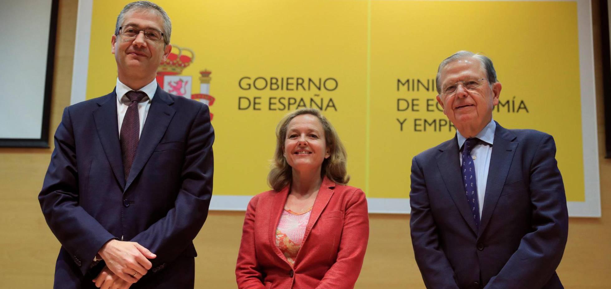 Pablo Hernández de Cos, Nadia Calviño y  José Luis Malo de Molina