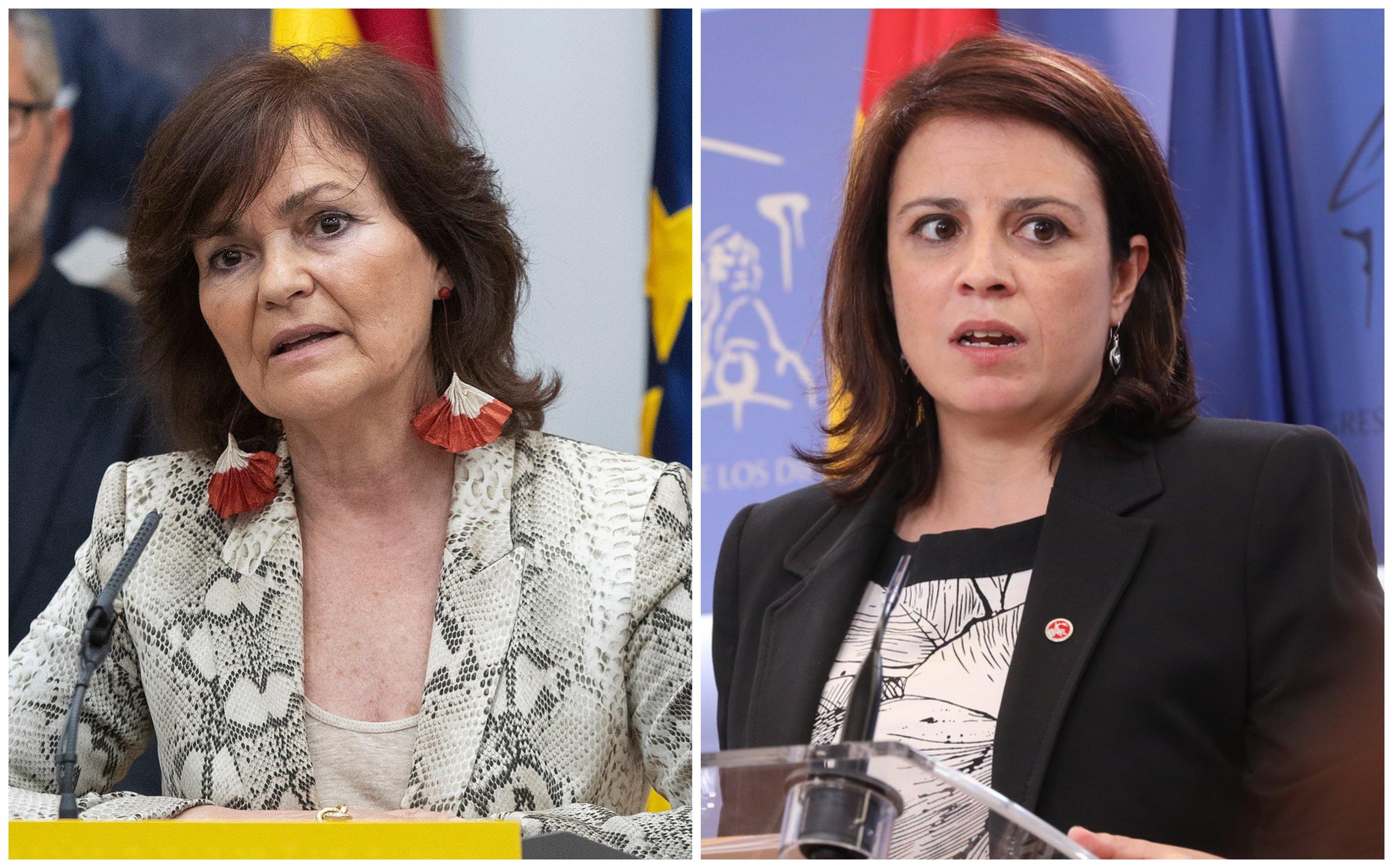 La vicepresidenta del Gobierno, Carmen Calvo y la vicepresidenta del PSOE, Adriana Lastra