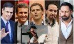 Los cinco líderes políticos españoles y Macrón