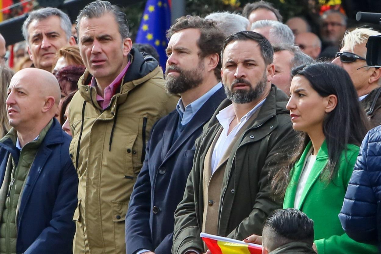 De izquierda a derecha, Ortega Smith, Espinosa de los Monteros, Abascal y Monasterio