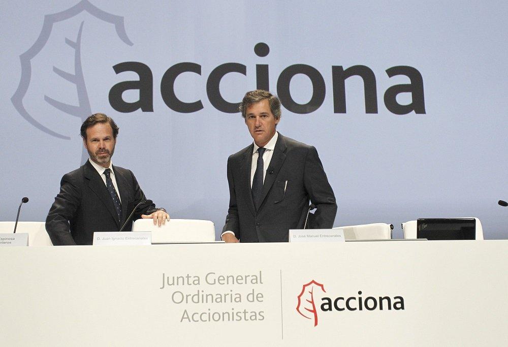 Los primos Juan Ignacio Entrecanales Franco y José Manuel Entrecanales Domecq, vicepresidente y presidente de Acciona, están al frente de las divisiones de Infraestructuras y Energía respectivamente