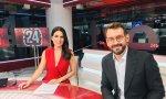La periodista Cristina Pampín con su compañero Marc Sala en Canal 24 H de RTVE