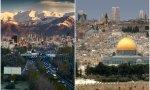 En la izquierda, Teherán, en la derecha, Jerusalén
