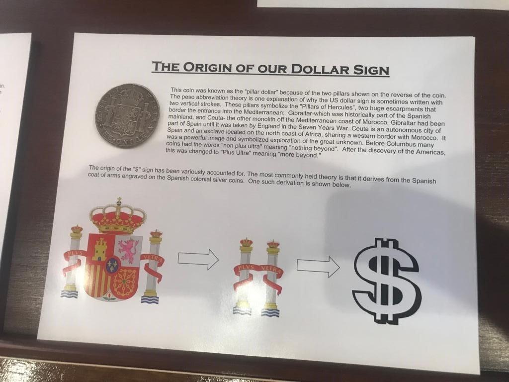El símbolo del dólar no es más que una transformación del escudo de España