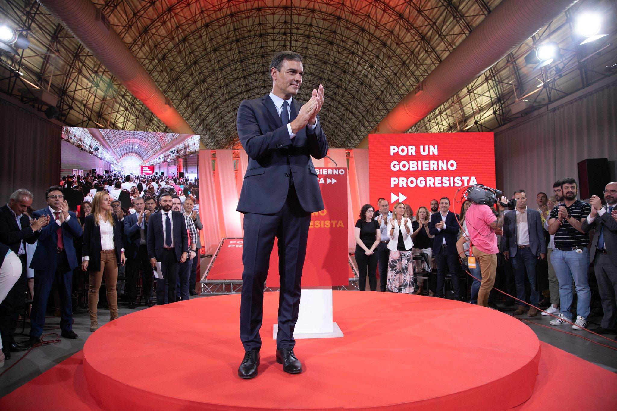 Pedro Sánchez durante la presentación de las nuevas medidas socialistas