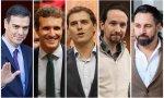 Los líderes de los principales partidos, de izquierda a derecha Pedro Sánchez, Pablo Casado, Albert Rivera, Pablo Iglesias y Santiago Abascal
