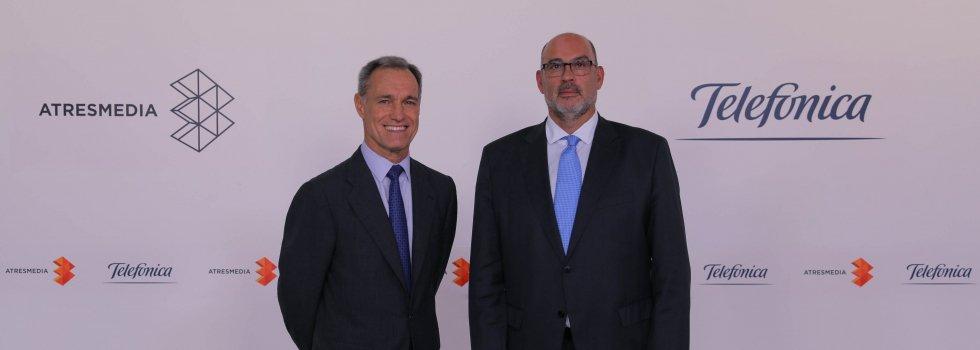 El CEO de Atresmedia, Silvio González, y el presidente de Telefónica España, Emilio Gayo