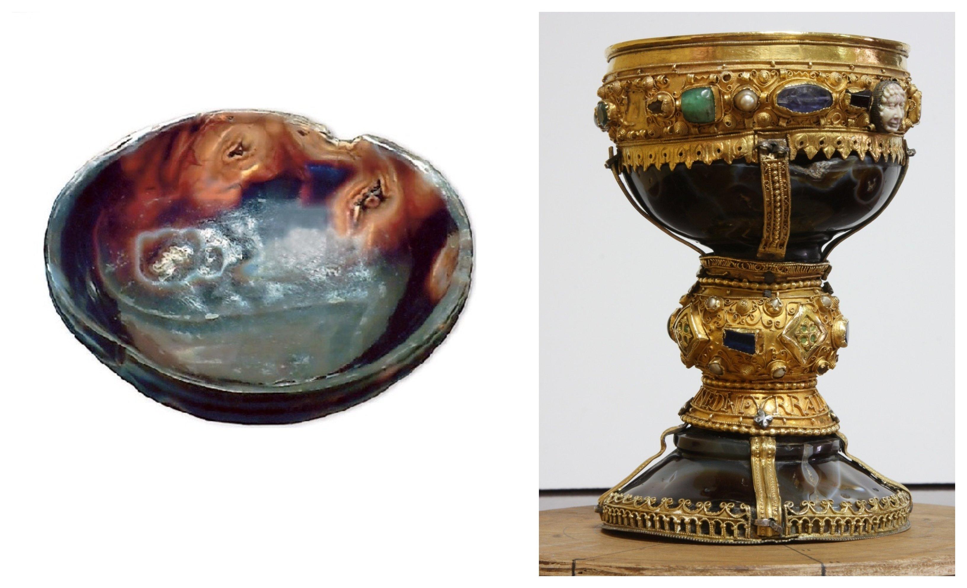 Vista superior del cáliz sin los elementos medievales y la copa de ónice