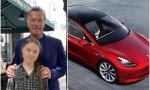Greta, Arnold y el 'Gretomóvil' Tesla Model 3