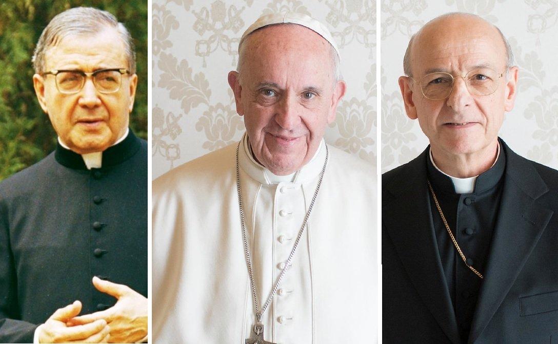San Josemaría, fundador del Opus Dei; el Papa Francisco; y Fernando Ocáriz, actual prelado del Opus Dei