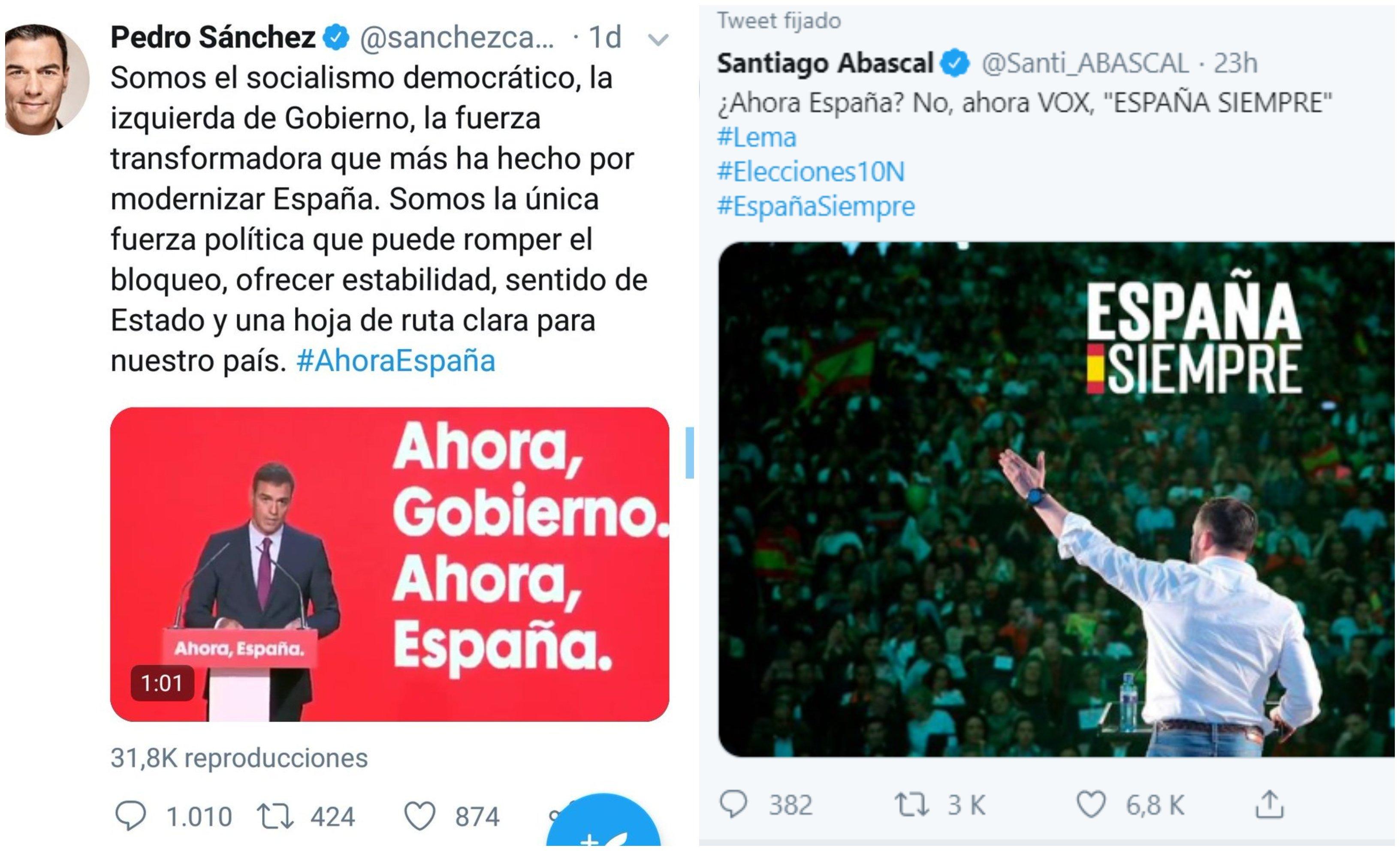 Tweets Sánchez, Abascal