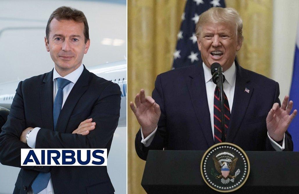 Guillaume Faury, CEO de Airbus, y el presidente de EEUU, Donald Trump