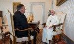 Mike Pompeo en su encuentro con el Papa Francisco