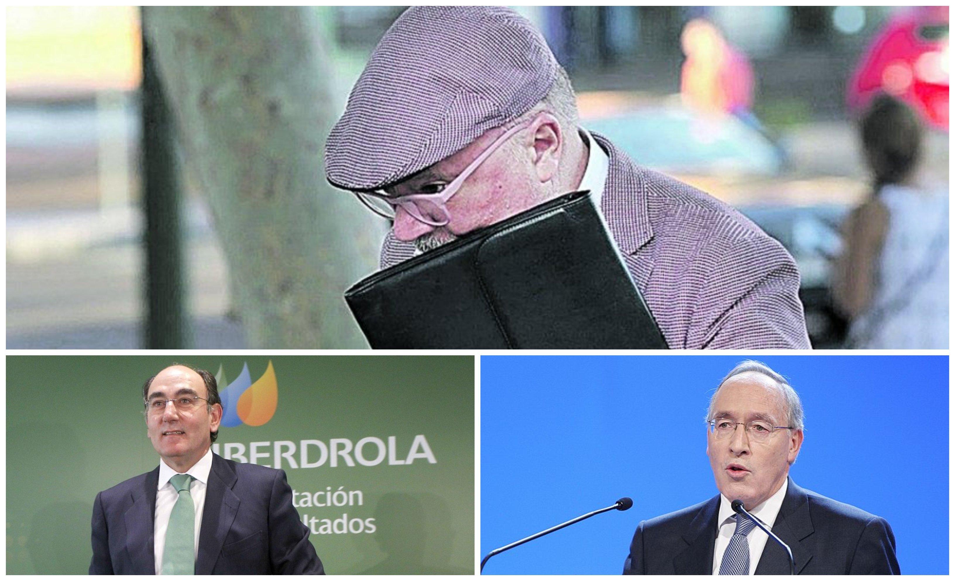 El excomisario José Manuel Villarejo, Ignacio Sánchez Galán y Manuel Pizarro