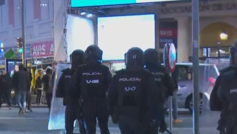Disturbios y altercados en la Plaza de Callao de Madrid