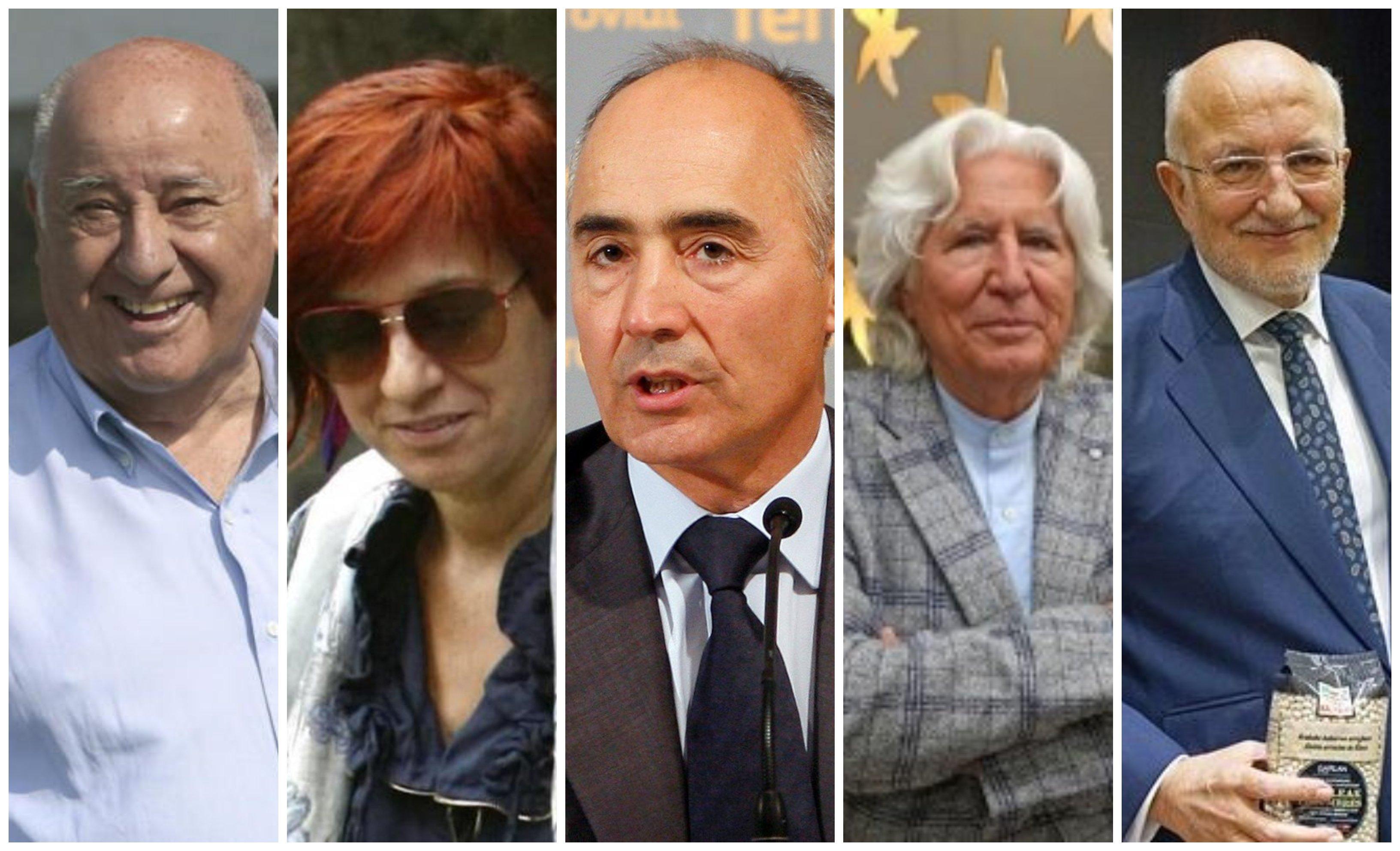 Amancio Ortega, Sandra Ortega, Rafael del Pino, Miguel Fluxá y Juan Roig