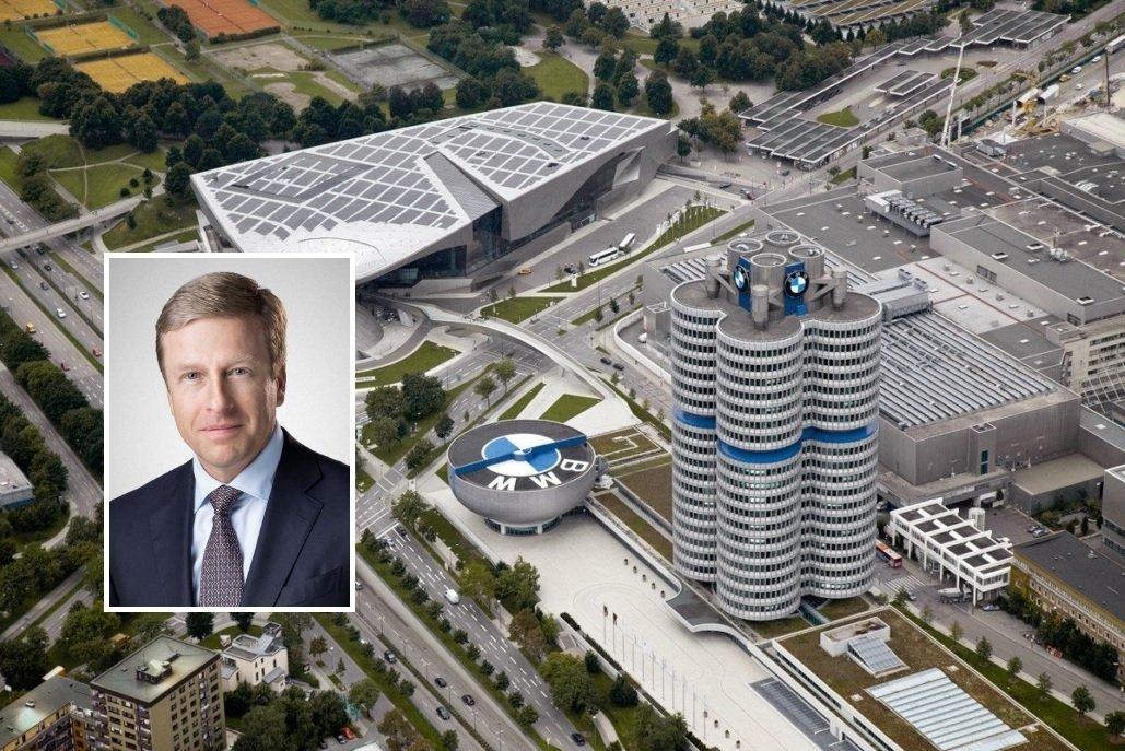 Oliver Zipse, presidente de BMW, y la sede de este grupo automovilístico alemán en Múnich